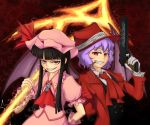 alucard_(hellsing) bat_wings black_hair cosplay costume_switch genderswap girlycard gloves gun handgun hat hellsing hellsing:_the_dawn long_hair overcoat pistol purple_hair red_eyes remilia_scarlet short_hair spear_the_gungnir touhou vampire weapon wings