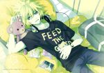 album bass_clef blonde_hair blue_eyes headphones kagamine_len kagamine_rin lying male necklace pillows plush shirt star teddy_bear vocaloid watch
