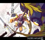 blonde_hair claws damaged diablomon digimon digimon_adventure epic green_eyes helmet highres horns letterboxed metalgarurumon monster mushina_suzume red_hair redhead wargreymon yellow_eyes