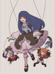 1girl black_legwear blue_eyes blue_hair bow cat_tail dress flower frederica_bernkastel furudo_erika hair_bobbles hair_flower hair_ornament kneehighs long_hair marionette mary_janes niso open_mouth pantyhose print_legwear redhead shoes smile string tail thigh-highs twintails umineko_no_naku_koro_ni ushiromiya_ange violet_eyes white_legwear wide_sleeves