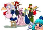 alternate_hair_color bat_wings blue_eyes book braid chinese_clothes cirno computer daiyousei flandre_scarlet floating highres hong_meiling izayoi_sakuya kneeling koakuma laptop lineup maid multiple_girls patchouli_knowledge red_eyes remilia_scarlet rumia stool tako tears the_embodiment_of_scarlet_devil touhou twin_braids wings youkai