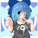 ? alternate_costume atuuy blue_eyes blue_hair blush bow bust cirno hair_bow offering popsicle short_hair solo sukage t-shirt touhou wings wink ã¢â€˜â¨ ⑨