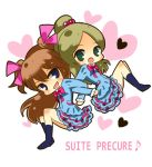 arms_interlocked brown_hair chibi green_eyes happy heart houjou_hibiki locked_arms long_hair mamepote minamino_kanade open_mouth orange_hair ponytail precure school_uniform skirt suite_precure title_drop twintails two_side_up