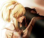 1girl blonde_hair bow comforting couple elisabeth_von_wettin hair_bow hand_on_head high_ponytail hug inumu marchen marchen_von_friedhof sound_horizon