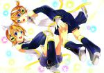 1boy 1girl absurdres blonde_hair blue_eyes brother_and_sister choker detached_sleeves headphones highres kagamine_len kagamine_len_(append) kagamine_rin kagamine_rin_(append) leg_warmers len_append nail_polish navel open_mouth ponytail popped_collar rin_append short_hair shorts siblings star vocaloid vocaloid_append