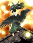 black_eyes black_hair blush bow hair_bow long_hair ponytail reiuji_utsuho short_hair skirt solo touhou wings yudepii yuderupii