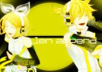absurdres choker closed_eyes detached_sleeves hand_on_headphones headphones highres kagamine_len kagamine_len_(append) kagamine_rin kagamine_rin_(append) len_append nail_polish open_mouth outstretched_arm ponytail popped_collar rin_append singing vocaloid vocaloid_append yellow