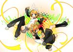 absurdres blonde_hair blue_eyes choker detached_sleeves headphones highres kagamine_len kagamine_len_(append) kagamine_rin kagamine_rin_(append) leg_warmers len_append navel ponytail rin_append short_hair shorts vocaloid vocaloid_append