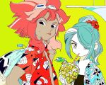 drinking flower goggles hair_ornament hair_over_one_eye hibiscus inazuma_eleven inazuma_eleven_(series) kazemaru_ichirouta long_hair multiple_boys pink_hair ponytail tropical tsunami_jousuke wea