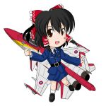 airplane black_hair blush_stickers hair_ornament hair_ribbon hakurei_reimu hinate jet military military_uniform missile necktie no_nose ribbon sakurato_tsuguhi simple_background solo touhou uniform