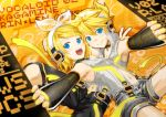blonde_hair blue_eyes choker detached_sleeves hairclip headphones highres kagamine_len kagamine_len_(append) kagamine_rin kagamine_rin_(append) len_append nail_polish navel open_mouth ponytail popped_collar rin_append short_hair smile vocaloid vocaloid_append yellow