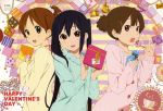 absurdres black_hair blush brown_eyes brown_hair candy gift hair_ornament hairclip happy_valentine highres hirasawa_ui holding holding_gift horiguchi_yukiko k-on! lollipop long_hair multiple_girls nakano_azusa official_art open_mouth ponytail ribbon scan short_hair short_ponytail short_twintails smile suzuki_jun sweater twintails valentine