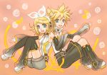 blonde_hair blue_eyes choker detached_sleeves hairclip headphones highres holding_hands kagamine_len kagamine_len_(append) kagamine_rin kagamine_rin_(append) leg_warmers len_append musical_note nail_polish open_mouth ponytail popped_collar rin_append short_hair shorts sitting vocaloid vocaloid_append