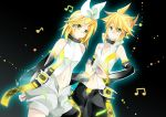 absurdres blonde_hair choker detached_sleeves glowing green_eyes hairclip headphones highres kagamine_len kagamine_len_(append) kagamine_rin kagamine_rin_(append) len_append musical_notes navel ponytail popped_collar rin_append short_hair shorts vocaloid vocaloid_append