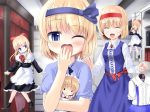 2girls a_(aaaaaaaaaaw) alice_margatroid alice_margatroid_(pc-98) apron blonde_hair blue_eyes blush book brooch capelet character_doll closed_eyes curtains doll dress dual_persona hair_ribbon hairband jewelry maid maid_headdress multiple_girls open_mouth pajamas ribbon shanghai_doll short_hair skirt smile suspenders touhou touhou_(pc-98) yawning yumeko