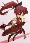 bow grin hair_bow magical_girl mahou_shoujo_madoka_magica polearm ponytail red_eyes red_hair redhead sakura_kyouko smile solo spear thighhighs ukke weapon