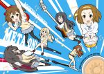 akiyama_mio bass_guitar black_hair blonde_hair brown_eyes brown_hair closed_eyes dress drum flying_v glasses guitar guitar_surfing hair_ornament hairband hairclip hirasawa_yui instrument k-on! keyboard keyboard_(instrument) kotobuki_tsumugi les_paul long_hair multiple_girls musical_note mustang(guitar) nakano_azusa pantyhose rozen5 school_uniform short_hair sweater_vest tainaka_ritsu tears twintails yamanaka_sawako