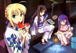 fate/stay_night fireworks food japanese_clothes matou_sakura saber tohsaka_rin watermelon yukata