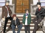4boys black_hair brown_hair door grey_hair inohara_masato jacket k3_(dolphin_brain) little_busters! male miyazawa_kengo multiple_boys naoe_riki natsume_kyousuke scarf short_hair spiked_hair spiky_hair stairs
