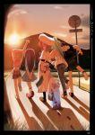 4girls 5girls absurdres arm_up artist_request beret blood furude_rika ghost hanyuu hat highres higurashi_no_naku_koro_ni houjou_satoko looking_back maebara_keiichi multiple_girls ryuuguu_rena shadow sky sonozaki_mion stairs sun sunset twilight