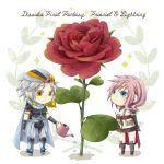 1boy 1girl armor artist_request bandana blue_eyes boots cape character_name chibi copyright_name dissidia_012_final_fantasy dissidia_final_fantasy earrings final_fantasy final_fantasy_ii final_fantasy_xiii fingerless_gloves flower frioniel gloves grey_hair jewelry lightning_farron pink_hair rinko-h rose skirt smile sparkle standing watering_can yellow_eyes