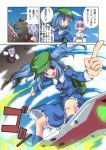 animal_ears backpack bag blue_eyes blue_hair blue_sky comic detached_sleeves eureka_7 eureka_seven eureka_seven_(series) foreshortening hair_bobbles hair_ornament hat highres hogeeeee inubashiri_momiji jpeg_artifacts kawashiro_nitori multiple_girls parody pointing red_eyes short_hair silver_hair skateboard sky solo tokin_hat touhou translation_request twintails white_hair wolf_ears