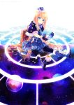 black_cat blonde_hair blue_eyes boots bow capelet cat cup dress globe gloves hat long_hair luggage namie-kun original pantyhose saucer sitting sky solo space star_(sky) starry_sky tea teacup very_long_hair