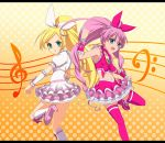 bass_clef blonde_hair blush boots bow brooch cure_melody cure_rhythm dress green_eyes heart houjou_hibiki jewelry long_hair magical_girl midriff minamino_kanade musical_note navel open_mouth pink_hair ponytail precure s-no skirt staff_(music) suite_precure thigh-highs thighhighs treble_clef twintails very_long_hair wrist_cuffs