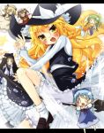 >_< blonde_hair bloomers blush braid broom broom_riding chibi cirno daiyousei fairy fairy_wars hat kirisame_marisa letterboxed luna_child minigirl multiple_girls natsukiyuu o_o side_braid solo star_sapphire sunny_milk touhou wings witch_hat yellow_eyes yousei_daisensou