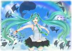 ahoge aqua_hair bare_shoulders blue_eyes fish hatsune_miku long_hair miniskirt navel necktie open_mouth rainbow retsuna silhouette skirt sky sleeveless sleeveless_shirt solo spread_arms the_sky_aquarium_(vocaloid) thighhighs twintails very_long_hair vocaloid whale wristband zettai_ryouiki