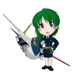 airplane alternate_costume alternate_hairstyle blue_eyes blush_stickers chibi contemporary f-14 fighter_jet file green_hair hand_on_hip hips jet military military_uniform missile necktie no_hat no_headwear no_nose notebook open_mouth sakurato_tsuguhi shikieiki_yamaxanadu short_hair simple_background solo touhou uniform