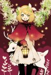 animal black_legwear black_thighhighs blonde_hair deer dress flower gloves green_eyes hair_flower hair_ornament hair_ribbon hairclip kagamine_rin kuwahara_souta lantern poncho ribbon short_hair smile solo thigh-highs thighhighs vocaloid
