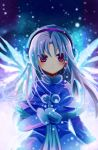 blue_hair coat earmuffs ji_yu long_hair mittens purple_eyes tachibana_kanade tenshi_(angel_beats!) violet_eyes wings winter_clothes
