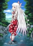 1girl artist_request bow from_behind fujiwara_no_mokou hair_bow hands_in_pockets long_hair looking_back nature pants red_eyes river shoes silver_hair sky solo suspenders touhou very_long_hair walking white_hair