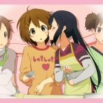4girls :o black_hair blush blush_stickers brown_eyes brown_hair cooking hair_ornament hairclip hirasawa_ui hirasawa_yui k-on! kanna_asuke licking long_hair multiple_girls nakano_azusa short_hair suzuki_jun twintails yuri