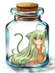 3d against_glass ahoge alternate_hairstyle animal_ears ascot bottle bottle_meme_(pixiv) brown_eyes cat_ears cat_tail chibi child girl_in_a_bottle girl_in_bottle green_hair in_bottle in_container kazami_yuuka kemonomimi_mode long_hair plaid plaid_skirt plaid_vest shii_(cocoa) simple_background skirt skirt_set solo tail touhou very_long_hair youkai