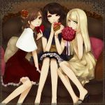 aoshiki bare_shoulders black_hair blonde_hair bouquet brown_eyes brown_hair casual couch dress flower gift green_eyes hair_flower hair_ornament heart high_heels long_hair multiple_girls original pillow pink_rose red_eyes red_rose rose shoes short_hair sitting smile valentine