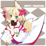 blonde_hair chocolate fox_ears fox_tail green_eyes heart original shirokitsune solo tail