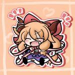 blush chibi fang horns ibuki_suika oni orange_hair solo touhou yanagi_(artist) yanagi_(nurikoboshi)