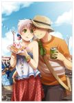 1boy 1girl :d bag blush bob_(meago) bracelet can charm_(object) closed_eyes couple earrings emily_(meago) face food fruit green_eyes hat hetero jewelry licking_lips meago messenger_bag necklace open_mouth original pants purse short_sleeves shoulder_bag skirt sky smile soda_can star straw straw_hat strawberry sun_hat t-shirt tongue tubetop waffle whipped_cream