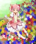 bow brown_eyes choker gloves hair_bow jewelry kaname_madoka kneehighs mahou_shoujo_madoka_magica official_style pendant pink_hair puffy_sleeves short_hair short_twintails sitting skirt twintails