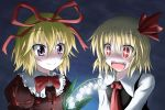 2girls blonde_hair bust fang fangs flower glowing glowing_flower hair_ribbon lily_of_the_valley medicine_melancholy multiple_girls night night_sky open_mouth purple_eyes red_eyes ribbon rumia short_hair sky smile taiga_(natsu_hotaru) the_embodiment_of_scarlet_devil touhou youkai