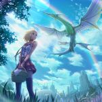 basket blonde_hair brown_eyes building cloud clouds copyright_request dragon from_below grass haitaka neck_ribbon rainbow ribbon short_hair skirt sky solo thigh-highs thighhighs