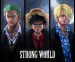 angry black_eyes black_hair blonde_hair bolo_tie boyaking cigarette earrings facial_hair formal goatee green_hair hair_over_one_eye hat jewelry male monkey_d_luffy multiple_boys necktie one_piece one_piece:_strong_world polka_dot red_shirt roronoa_zoro sanji scar simple_background smoking spiked_hair spiky_hair standing straw_hat