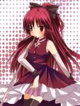 bow emyu fujishiro_emyu hair_bow highres mahou_shoujo_madoka_magica ponytail red sakura_kyouko solo thigh-highs thighhighs zettai_ryouiki