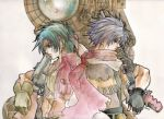 2boys ahoge bandage bandages bandolier belt blue_hair coat come-sta gloves grey_hair gun headband jet_enduro messy_hair multiple_boys purple_eyes red_eyes rifle rody_roughnight scarf shirt vest violet_eyes weapon wild_arms wild_arms_3 wild_arms_alter_code_f