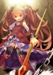 black_legwear black_thighhighs blurry boots bow chain chains depth_of_field fang foreshortening hair_bow hand_on_hip highres magical_girl mahou_shoujo_madoka_magica open_mouth pocky polearm ponytail red_eyes red_hair redhead sakura_kyouko solo spear thigh-highs thighhighs weapon yumekui