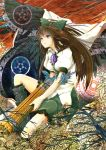 1girl arm_cannon bird_wings black_wings bow brown_hair cape cibo_(killy) concrete hair_bow long_hair puffy_sleeves red_eyes reiuji_utsuho shirt short_sleeves sitting skirt solo third_eye touhou very_long_hair weapon wings