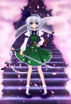 belt blue_eyes cherry_blossoms ghost hairband highres hitodama katana konpaku_youmu konpaku_youmu_(ghost) scabbard sheath short_hair silver_hair solo stairs standing sword touhou vest weapon zzz36951