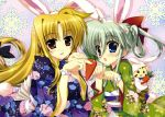 absurdres animal_ears asteion blonde_hair blue_eyes bow bunny_ears carrot einhart_stratos fate_testarossa fujima_takuya hair_bow highres huge_filesize japanese_clothes kimono long_hair lyrical_nanoha mahou_shoujo_lyrical_nanoha mahou_shoujo_lyrical_nanoha_vivid multiple_girls official_art open_mouth red_eyes scan silver_hair very_long_hair yukata